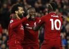 """""""Liverpool"""" gūst ātrākos vārtus vēsturē, Salāhs un Manē katrs iesit divus"""