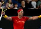 Džokovičam un Nadalam grūtas uzvaras sezonas ievadā, Tīms zaudē