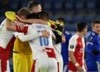 """""""Slavia"""" pārsteidz """"Leicester"""", tālāk tiek arī Mančestras """"United"""", Milāna un Roma"""