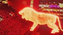 Milzu lauvas hologramma parādās stadionā