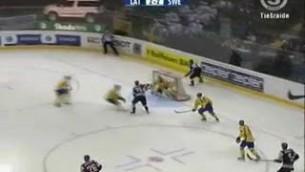 Video: Mārtiņš Karsums takes out Tobias Enstrom.