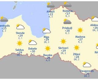 Laika prognoze šodienai, 29. maijam