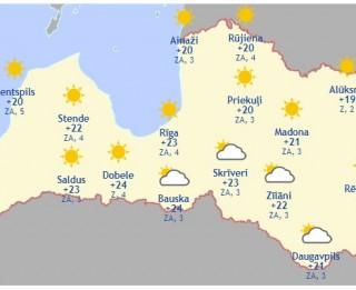 Laika prognoze šodienai, 31. maijam