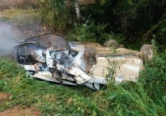 Video: Igauņu sportistam smaga avārija, citam braucējam sadeg GAZ automašīna