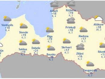 Laika prognoze šodienai - 31. augustam