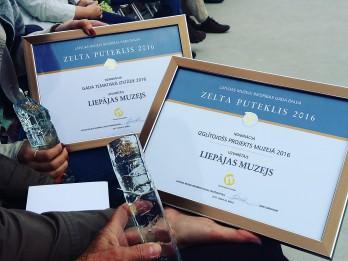 """Liepājas muzejs saņem nozares profesionāļu novērtējumu – balvu """"Zelta puteklis 2016"""" divās nominācijās"""