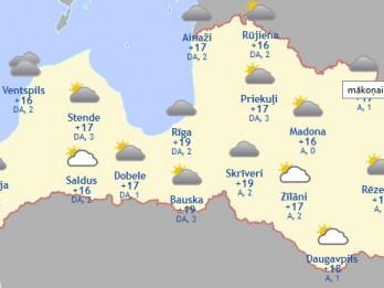 Laika prognoze šodienai - 16. augustam