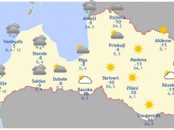 Laika prognoze šodienai, 23. februārim