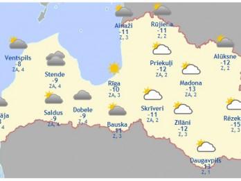 Laika prognoze šodienai, 25. februārim