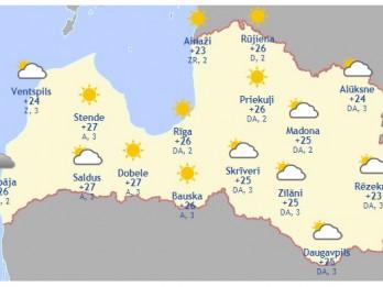 Laika prognoze šodienai, 26. maijam