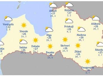 Laika prognoze šodienai, 27. maijam