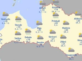 Laika prognoze šodienai - 6. augustam