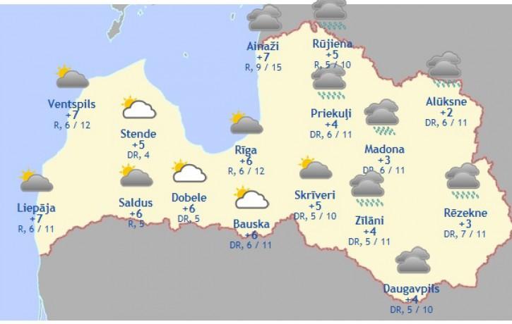Laika prognoze šodienai - 12. novembrim
