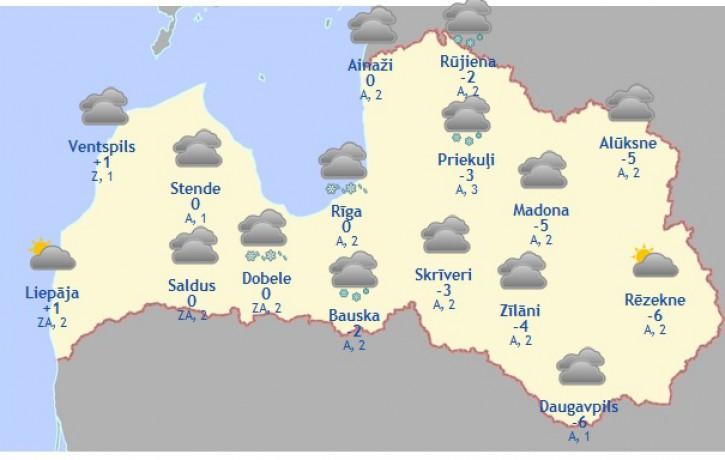 Laika prognoze šodienai, 14. februārim