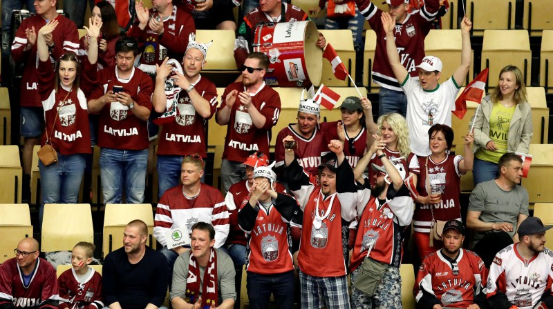 Latvijas hokeja fani. Foto: Reuters/Scanpix