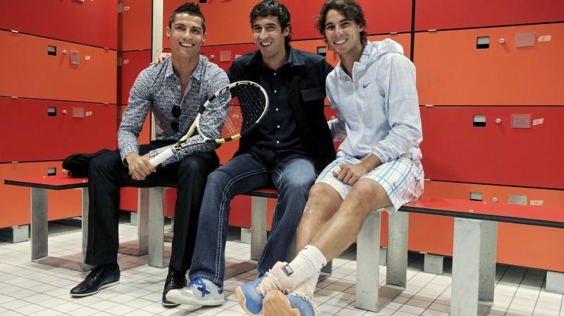 Krištianu Ronaldu, Rauls un Rafaels Nadals 2010. gadā  Foto: Reuters / Scanpix