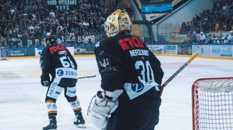 Elvis Merzļikins. Foto: HC Lugano