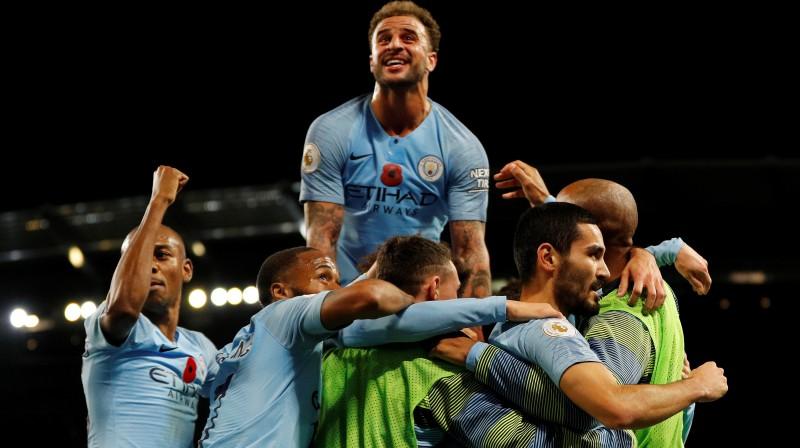 """""""City"""" futbolisti svinot vārtu guvumu. Foto: Reuters/Scanpix"""