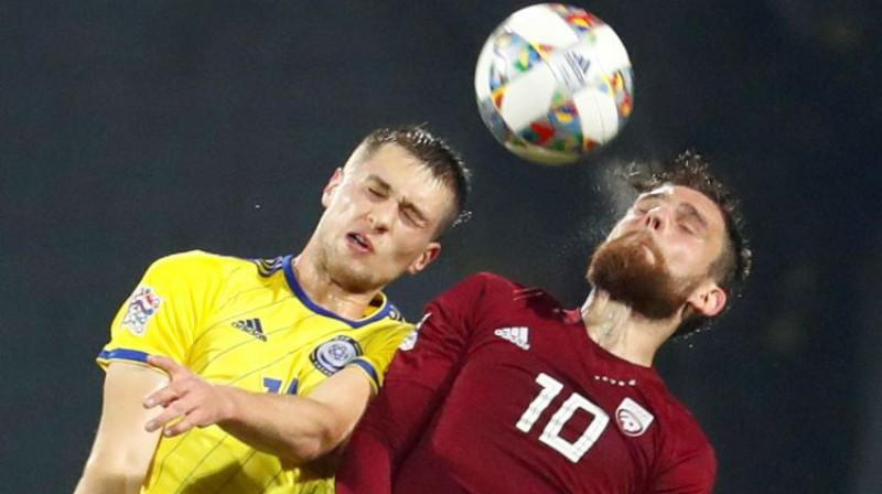 Valērijs Šabala iepriekšējā spēlē pret Kazahstānu. Foto: Reuters/Scanpix
