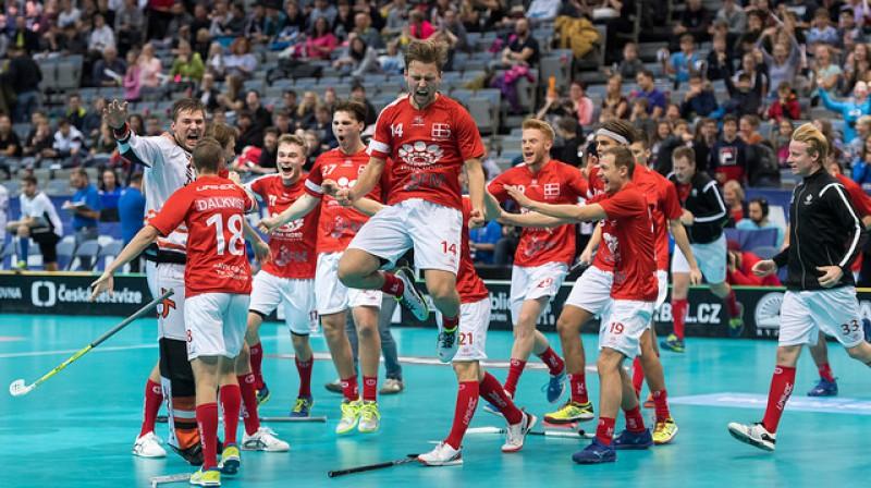 Lai gan Igaunijas izlasei bija milzīgs pārsvars laukumā, dāņi šoreiz izrādījās spēcīgāki Foto: IFF Floorball