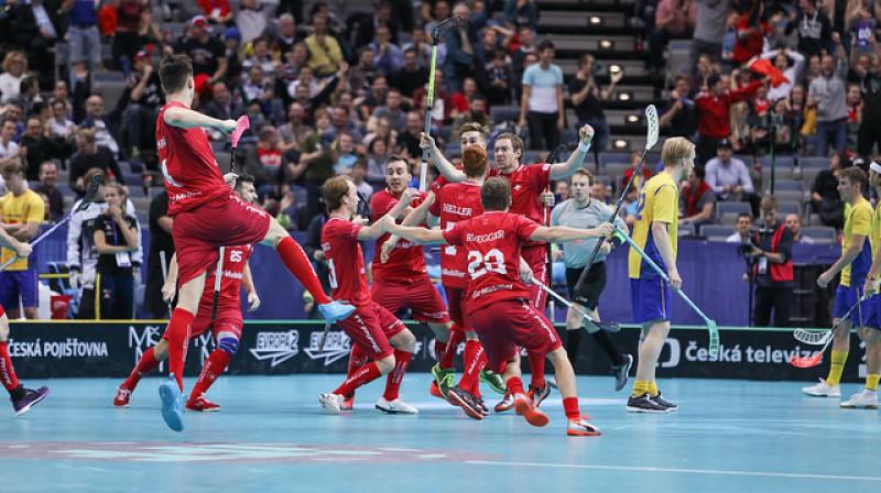 Šveice bija tuvu tam, lai 2018. gada pasaules čempionātā spēlētu finālā. Pēc četriem gadiem turnīrs notiks viņu mājās Foto: IFF Floorball