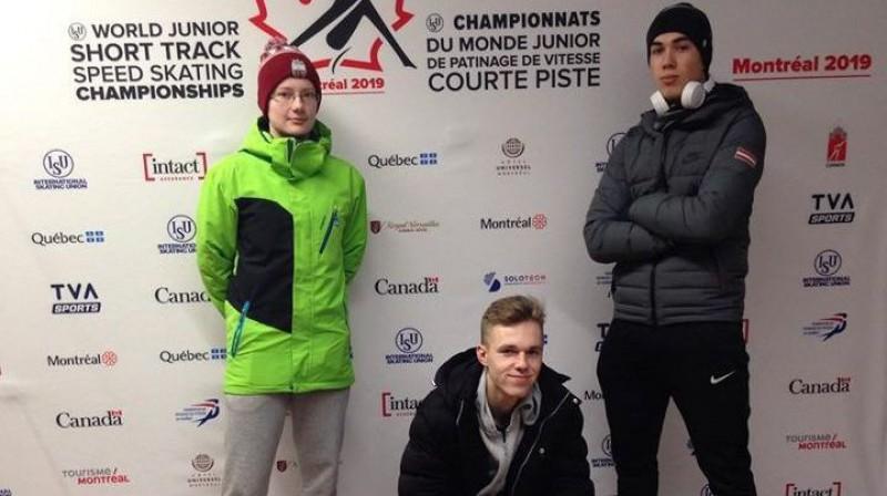 """Anna Jansone (no kreisās), Reinis Bērziņš, Roberts Krūzbergs. Foto: Sporta skola """"Spars"""""""