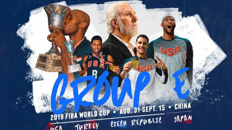 Amerikāņi E grupā spēlēs pret Čehiju, Turciju un Japānu. Foto: USA Basketball/FIBA