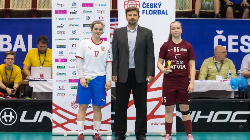 Par labāko spēlētāju Latvijas izlases sastāvā tika atzīta otro vārtu autore Anna Ankudinova. Foto: ČFF