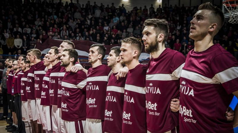 Latvijas vīriešu basketbola valstsvienība. Foto: FIBA