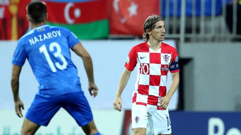 Luka Modričs spēlē pret Azerbaidžānu. Foto: PA Images/Scanpix