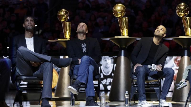 """""""Spurs"""" lielais trjinieks - Tims Dankans, Manu Džinobili un Tonijs Pārkers. Foto: AP/Scanpix"""