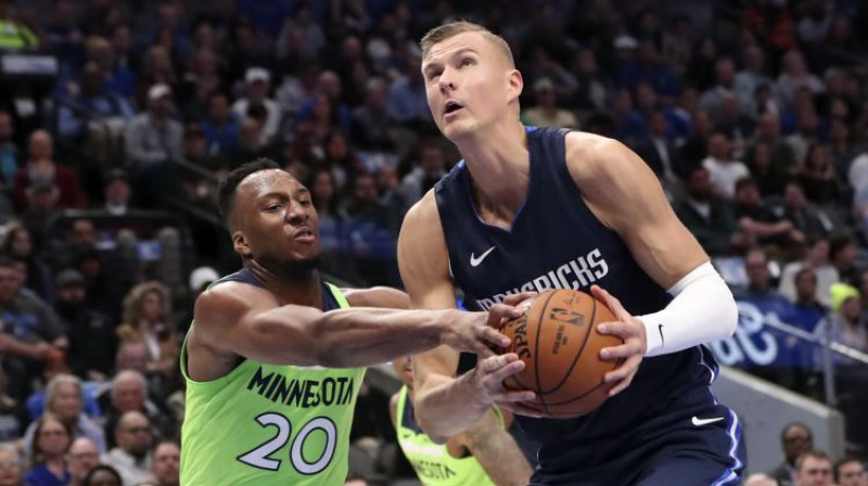 "Kristaps Porziņģis mačā pret ""Timberwolves"". Foto: USA Today Sports/Scanpix"