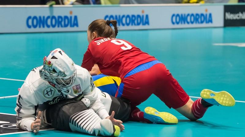 Čehijas izlase sargā savus vārtus Foto: IFF Floorball