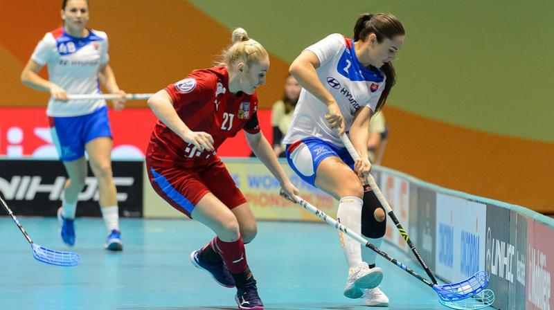 Čehijas izlase jau ir ceturtdaļfinālā, slovākietēm par vietu tur vēl jācīnās Foto: IFF Floorball
