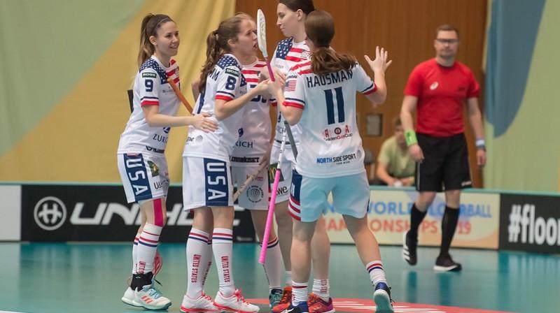 ASV izlasei pasaules čempionātā Šveicē tā arī neizdevās izcīnīt nevienu uzvaru Foto: IFF Floorball