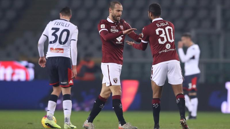"""Torino"" futbolisti svin vārtu guvumu. Foto: Jonathan Moscrop/Sportimage/PA Images/Scanpix"