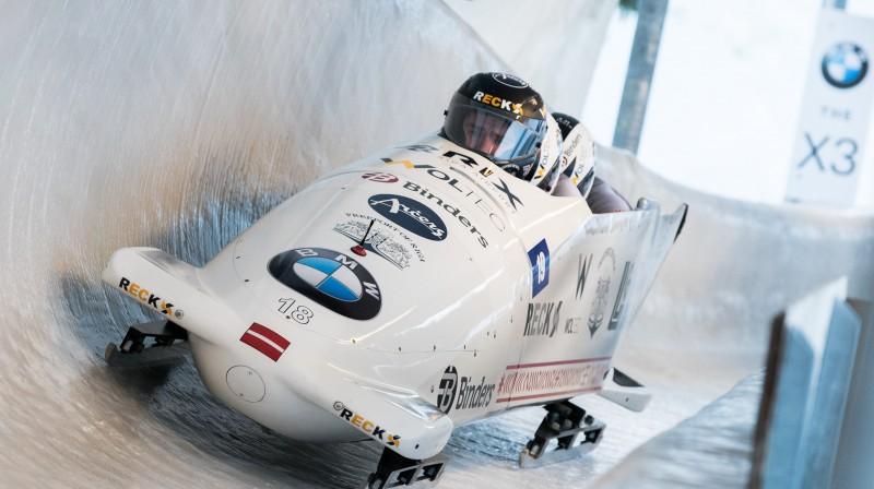 Ralfs Bērziņš trasē. Foto: Viesturs Lācis/bobslejs.lv