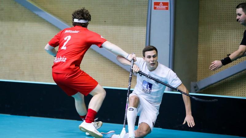 Vācija ne bez piepūles izcīnījusi uzvaru pirmajā spēlē Foto: IFF Floorball