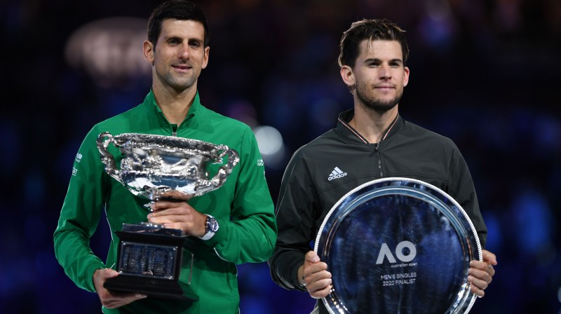 "Novaks Džokovičs un Dominiks Tīms ""Australian Open"" finālā. Foto: AFP/Scanpix"
