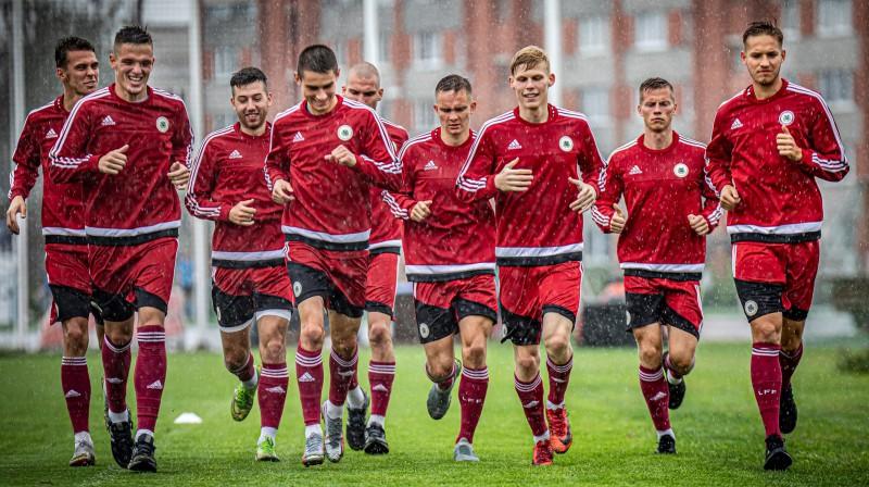 Latvijas U21 izlase. Foto: LFF