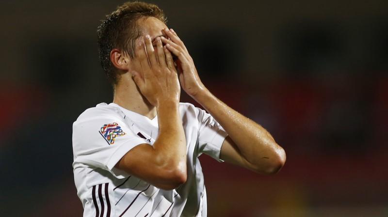 Latvijas izlases debitants Raimonds Krollis. Foto: Reuters/Scanpix