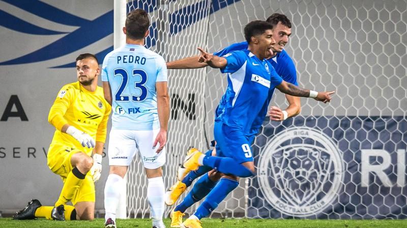 Emersons svin Rīgas derbijā gūtos vārtus. Foto: Zigismunds Zālmanis, Riga FC