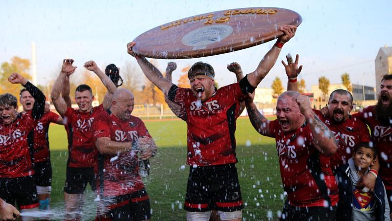 """""""Miesnieki"""" jau 12. reizi triumfē Latvijas regbija čempionātā"""