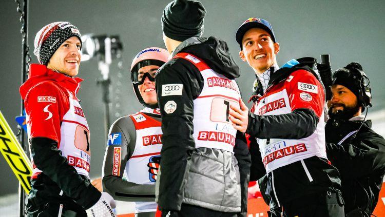 Austrijas tramplīnlēcēji svin uzvaru Pasaules kausa komandu sacensībās