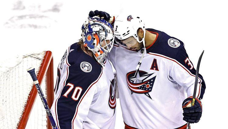 """Kolumbusas uzbrucējs: """"Ģērbtuvē visi zinām, ka Korpisalo ir viens no labākajiem vārtsargiem NHL"""""""