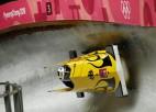 Bobsleja divniekos dāmām vācietes demonstrē lielisku ātrumu un izvirzās vadībā