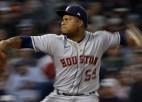 """""""Braves"""" un """"Astros"""" gūst pa deviņiem punktiem un nonāk soļa attālumā līdz Pasaules sērijai"""