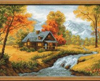 Izšūta glezna ar rudenīgu dabas skatu