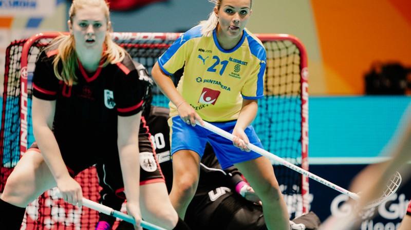 Zviedrijas izlase pret vācietēm atzīmējās ar 26 vārtu guvumiem Foto: IFF Floorball