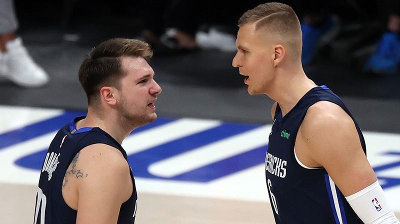 Luka Dončičs un Kristaps Porziņģis var pirmo reizi sasniegt NBA play-off otro kārtu. Foto: AFP/Scanpix